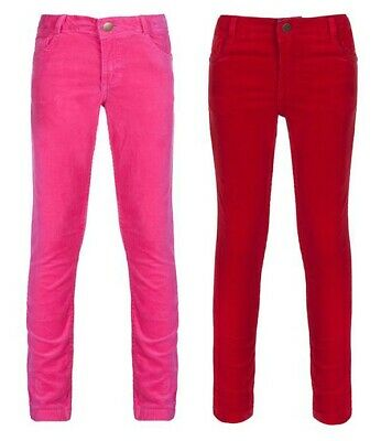 Girls Pink & Red Corduroy Trousers Skinny Slim 12/18 Months - 5/6 Years Cords