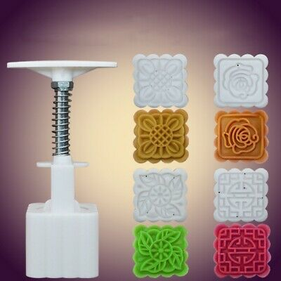 4 Model Square Hand DIY Mooncake Mold Tool Stamps Flower Moon Cake Mold Mould US