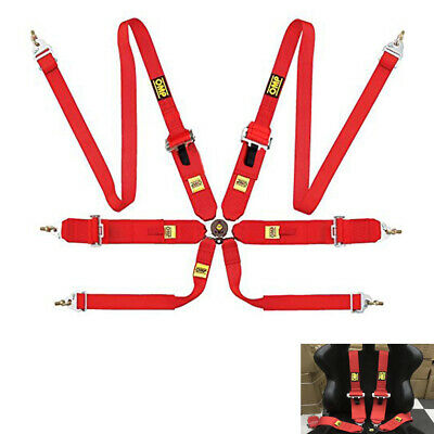 OMP Red Harness 6 points Belts Rally Racing Standard FIA Approved Seatbelt