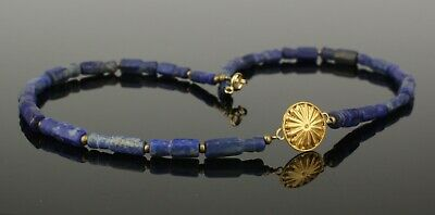 BEAUTIFUL ANCIENT GOLD & LAPIS BEAD NECKLACE   2nd Century AD   (809)