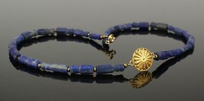 BEAUTIFUL ANCIENT GOLD & LAPIS BEAD NECKLACE   2nd Century AD   (909)