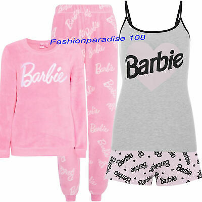 BARBIE Pyjamas Ladies Women's Girls Warm Cosy Fleece PJ's Cami Pajamas Primark