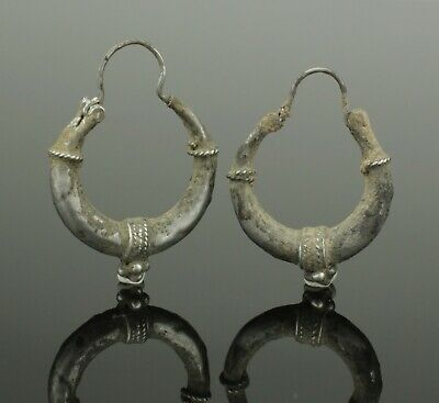 Ancient Byzantine Silver Earrings - Circa - 12Th Century Ad   (355)