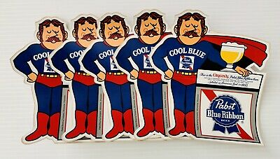 Vtg Old Pabst Blue Ribbon Beer Brewing PBR Cool Blue Stickers Superman Lot of 5