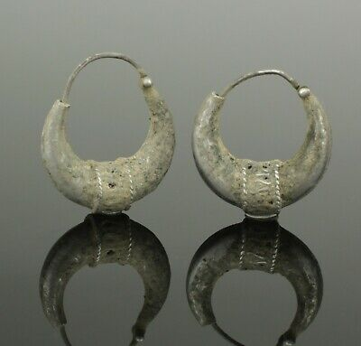 Ancient Byzantine Silver Earrings - Circa - 12Th Century Ad   (357)