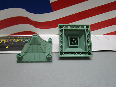 2 Lego HARRY POTTER SAND GREEN 4x4x2 PIECE CONES FOR THE ROOF PART #3943