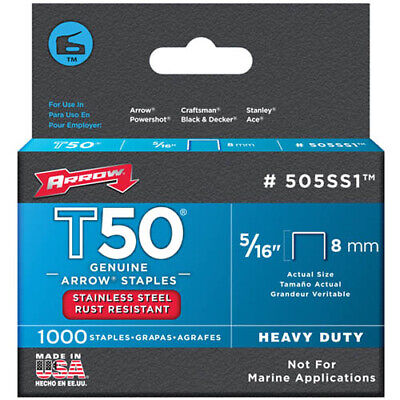 "Arrow T50 5/16"" - 8mm Stainless Steel Staples Pack of 1000"