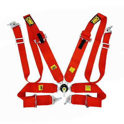 OMP Red Harness 4 points Seatbelt Rally Racing Standard FIA Approved