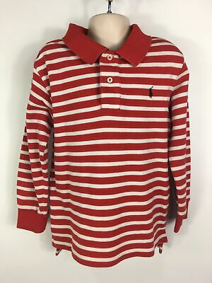 Childs Kids Polo Ralph Lauren Red White Striped Long Sleeve Polo Shirt Top Age 6