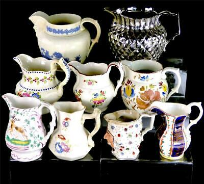 Nine Antique English & Welsh Porcelain Pearlware Jugs Interesting Grouping