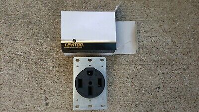 Leviton 3 Pole 4 Wire Receptacle Flush Mount Black 50A-125/250V Cat 279