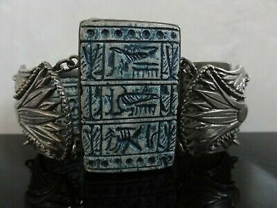 Fab Art Deco Egyptian Revival Scene Cleopatra Silver Signed Wide Panel Bracelet