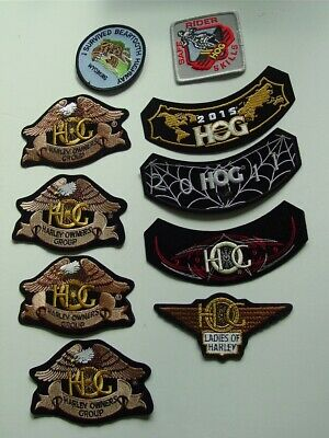 Lot 10 Harley Davidson Hog Patches Iron On Sew Owners Group Sturges-Ladies Of H.