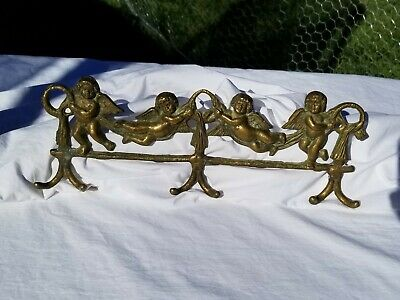 Vintage Angel Cherub Brass Coat Hanger Hat Hanger