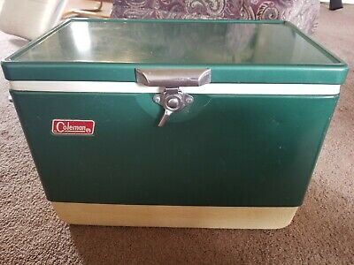 Vintage Coleman Snow Lite Metal Cooler with Tray and Box Green Ice Chest Old Vtg