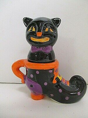 Halloween Witch Boot & Black cat stacking Salt & Pepper Shakers