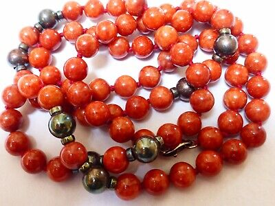 CHINESE Vintage Natural Rusty JADE BEAD NECKLACE Sterling Silver Beads & Clasp