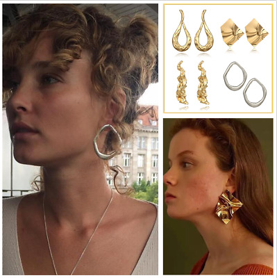 Fashion Gold/Silver Geometry Metal Ear Drop Dangle Stud Earrings Women Jewelry