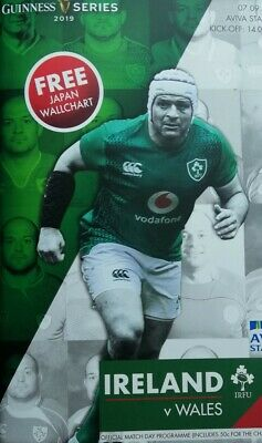 Ireland v Wales 2019 RWC warm-up rugby programme Dublin, September