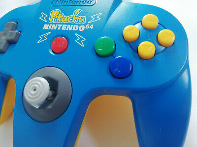 Nintendo 64 Official Pikachu Pokemon Blue Yellow Controller N64 GREAT FIRM STICK