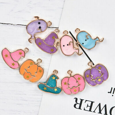 10Pcs/set Enamel Halloween Charms Magic DIY Pendant Alloy Hat Ghost Jewelry Gift