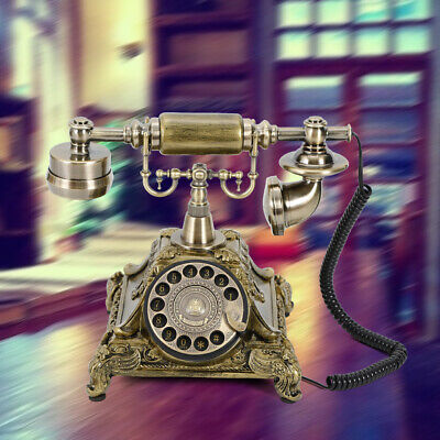 Retro Rotary Dial Telephone Vintage Handset Phone Copper For Home Office Classic