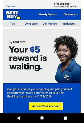 BEST BUY $5 REWARD GIFT CARD EXPIRES 11/23/2019 ONLINE or IN STORES - EMAIL YOU.
