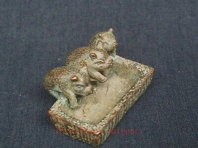 Collection Chinese Old Bronze Carving Lovely Pig Feed Paperweight Decoration