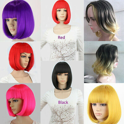 Women Ladies Natural Short Straight Wavy Hair Wigs BOB Style Cosplay Full Wig