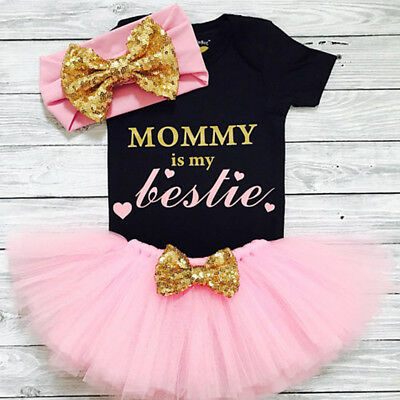 3Pcs Newborn Kid Baby Girl Romper Tops+Tutu Dress Princess Party Pageant Outfits