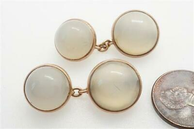 GOOD QUALITY ANTIQUE ENGLISH 9K GOLD CHALCEDONY AGATE CUFFLINKS c1900