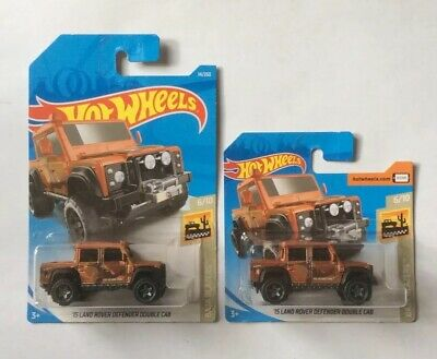 2x Hot Wheels 2019 15 Land Rover Defender Double Cab – Long & Short Cards 14/250