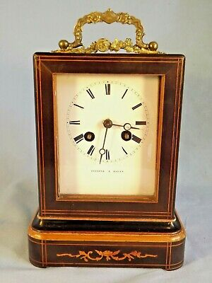 19c French Inlaid Clock C1880 Working Order.