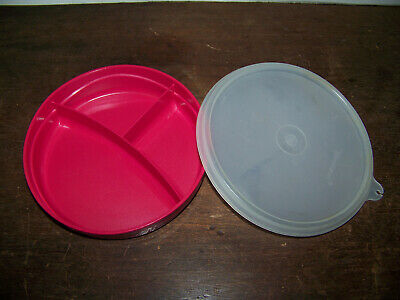 Tupperware Munch kids Pink Divided Dish # 2552 w/Lid