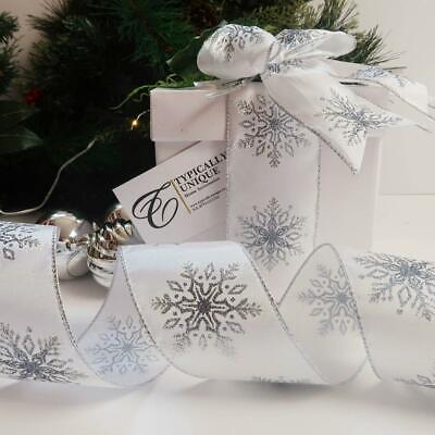 Christmas Ribbon Snowflake Wire Edge Gift Wrapping Tree Decoration Craft 'Frost'