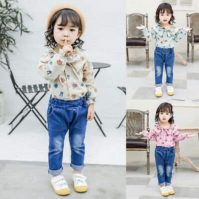 Girls Autumn Cute Long Sleeve Floral Print Blouse Tops+Denim Pants Trouser Set