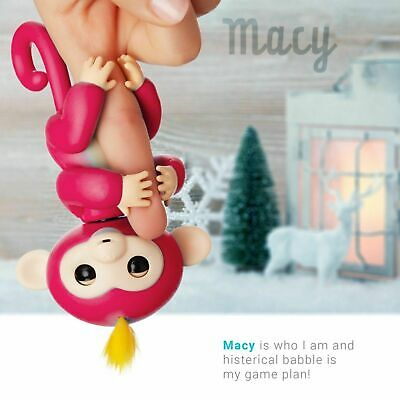 MACY RED Finger Monkey Little Electronic Pet Clings Toy 6 Function Interactive