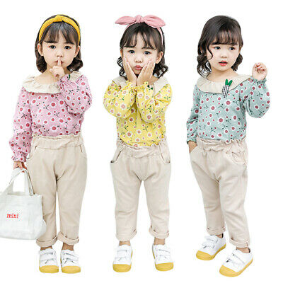 Fashion Baby Girls Autumn Long Sleeve Floral Print Blouse Tops+Pants Trouser Set