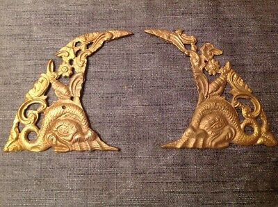 ANTIQUE SPANDRELS LONGCASE GRANDFATHER BRACKET CLOCK PAIR CAST BRASS 155x105mm