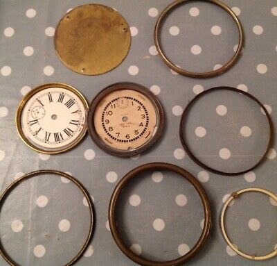 Antique Clock Brass Bezel Dials Faces Collection Ex Clockmakers Spare Parts