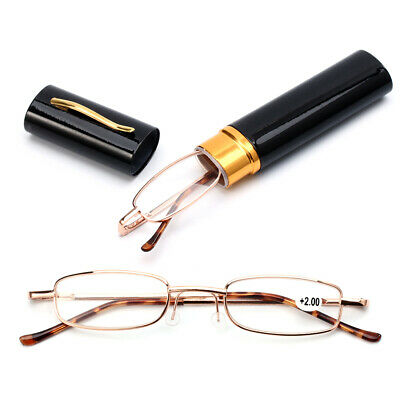 Small Compact Presbyopic Glasses Reading Glasses Portable with Pen Tube Case