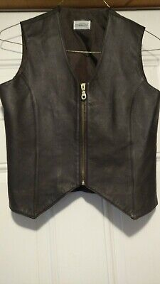 Styleworks Womens Leather Vest Dark Brown Size Small Zipper Lined