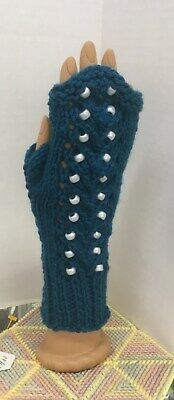 Handmade fingerless texting gloves teal with white beads