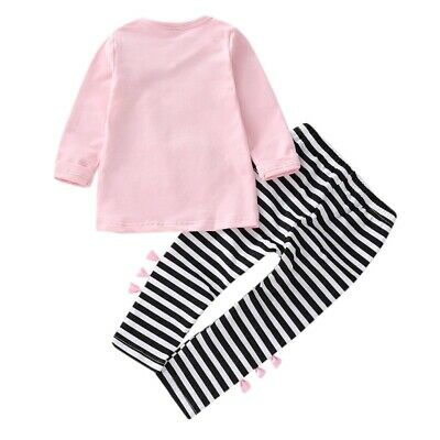 Toddler Girl Autumn Long Sleeve Striped Print Bowknot Tops+Pants Trouser Set