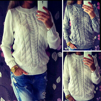 UK Winter Womens Long Sleeve Knitted Sweater Ladies Jumper Pullover Top Knitwear