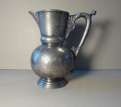 Antique Silver Plate Pitcher Etched Bird & Floral Motif Meriden B Company