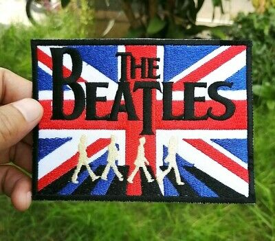 THE BEATLES GUITAR AND UNION JACK SEW ON PATCH