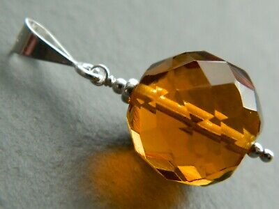 Vintage Art Deco Large Faceted Amber Glass Bead & 925 Sterling Silver Pendant