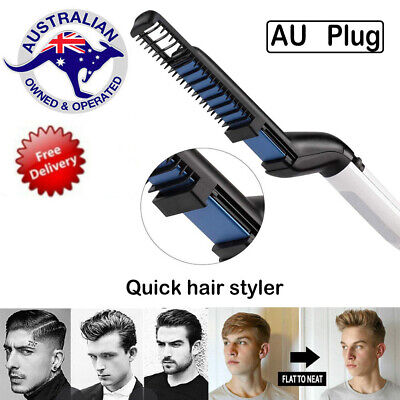 Quick Beard Straightener Hair Styler Multi functional Comb Curler Show Men AU -