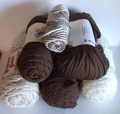 Macrame Cord Thread (6 Skeins) Brown White Herculon Elefant Twist Mangelsens